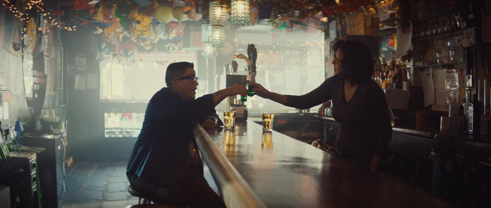 Lea Delaria grabs a drink at Cubbyhole, one of New York's last lesbian bars