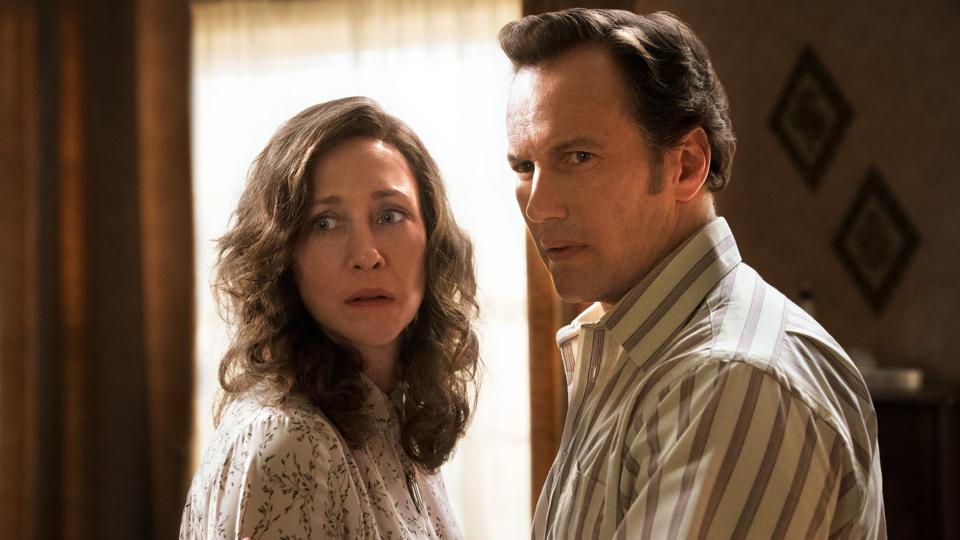Ed and Lorraine Warren look in horror in The Conjuring: The Devil Made Me Do It