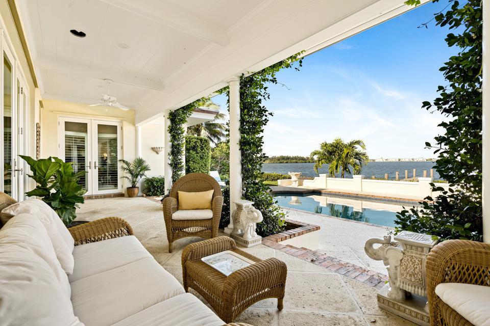 waterfront view and dock from house in riomar at 649 Lake Drive Vero Beach, FL