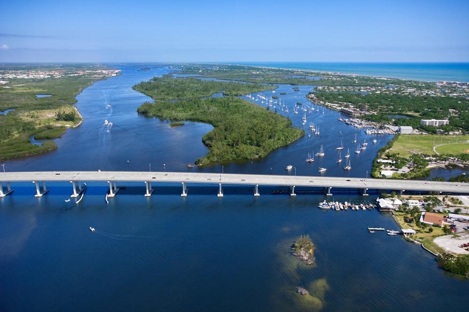 Aerial view of bridge crossing Indian River in Vero Beach, Florida