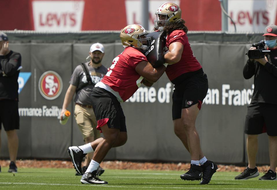 San Francisco 49ers rookie Aaron Banks during minicamp in Santa Clara.