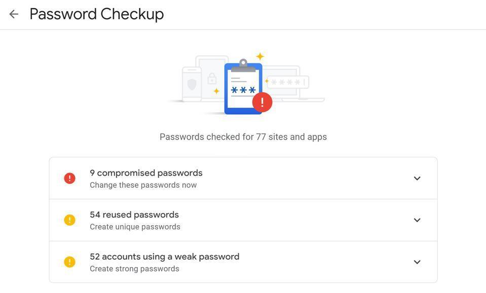 Google Password Checkup.