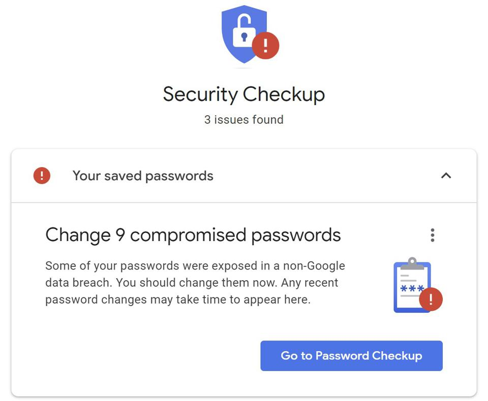 Google's warning about compromised passwords shouldn't be ignored.