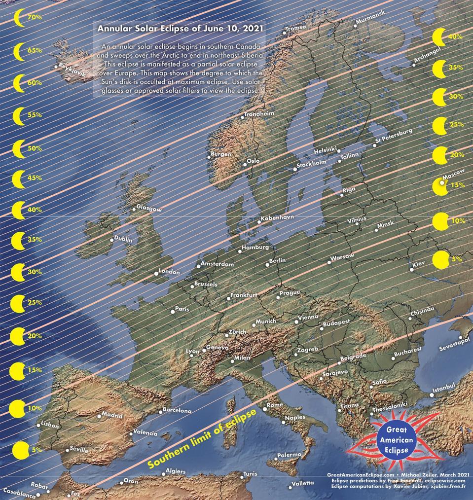 Este mapa de GreatAmericanEclipse.com muestra un oscurecimiento del eclipse para Europa: el noroeste ve el bulto más grande.