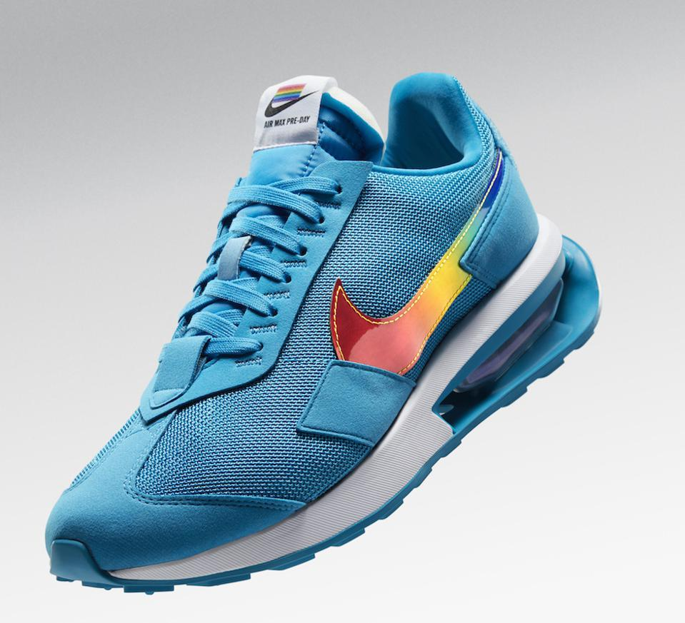 Nike's Air Max Pre Day is blue with a rainbow stripe.