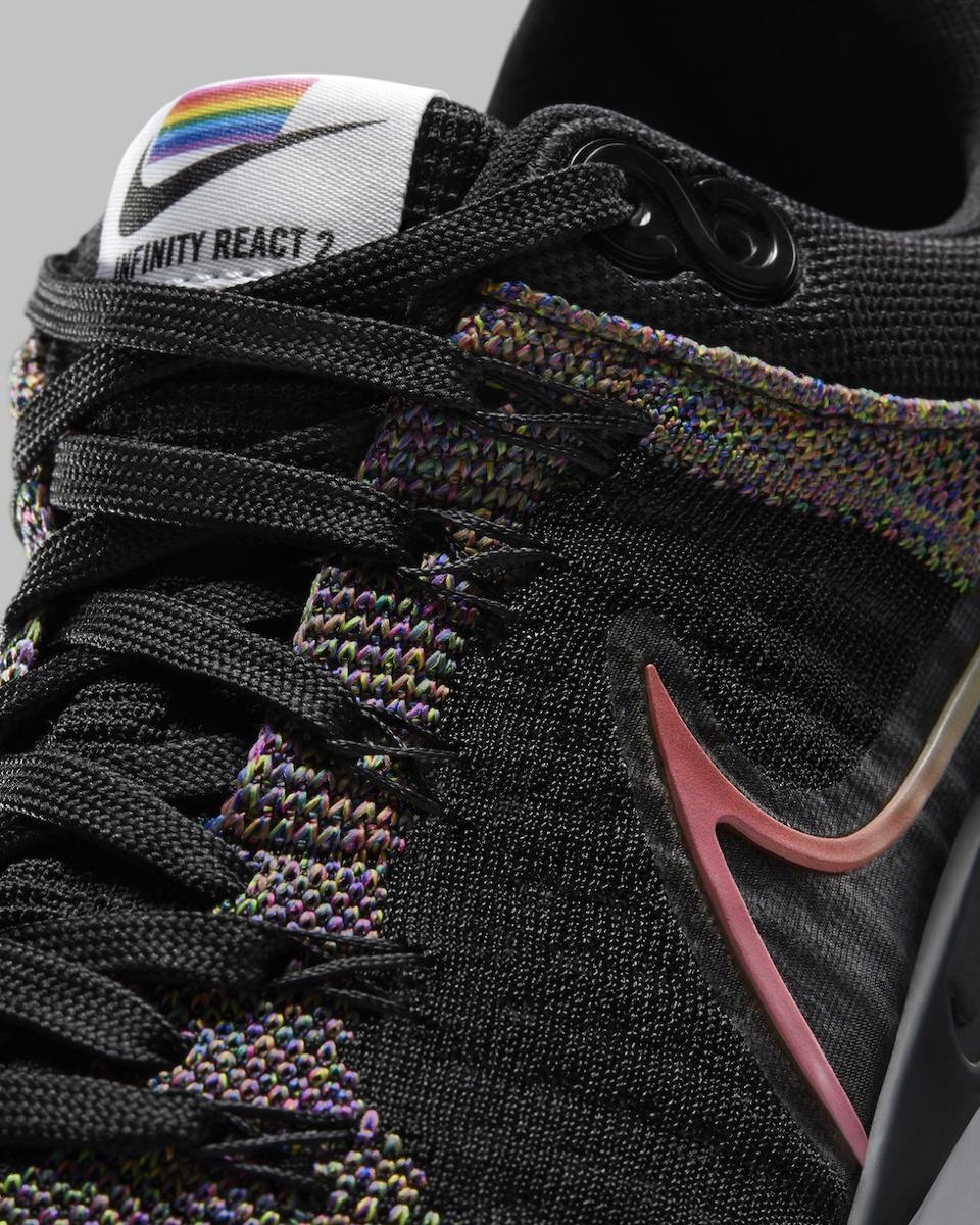 Nike 2021 Be True Infinity React Run 2 is black and has a rainbow Swoosh.