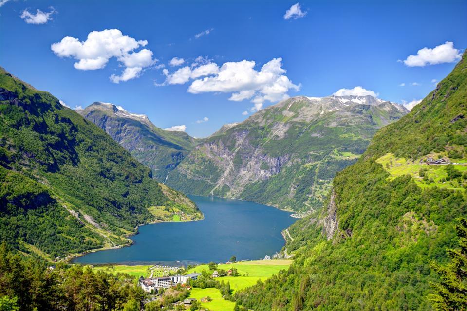 Looking down on the Geirangerfjord in western Norway