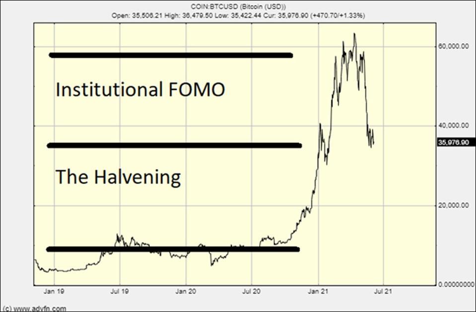 两年的比特币图表显示了 FOMO