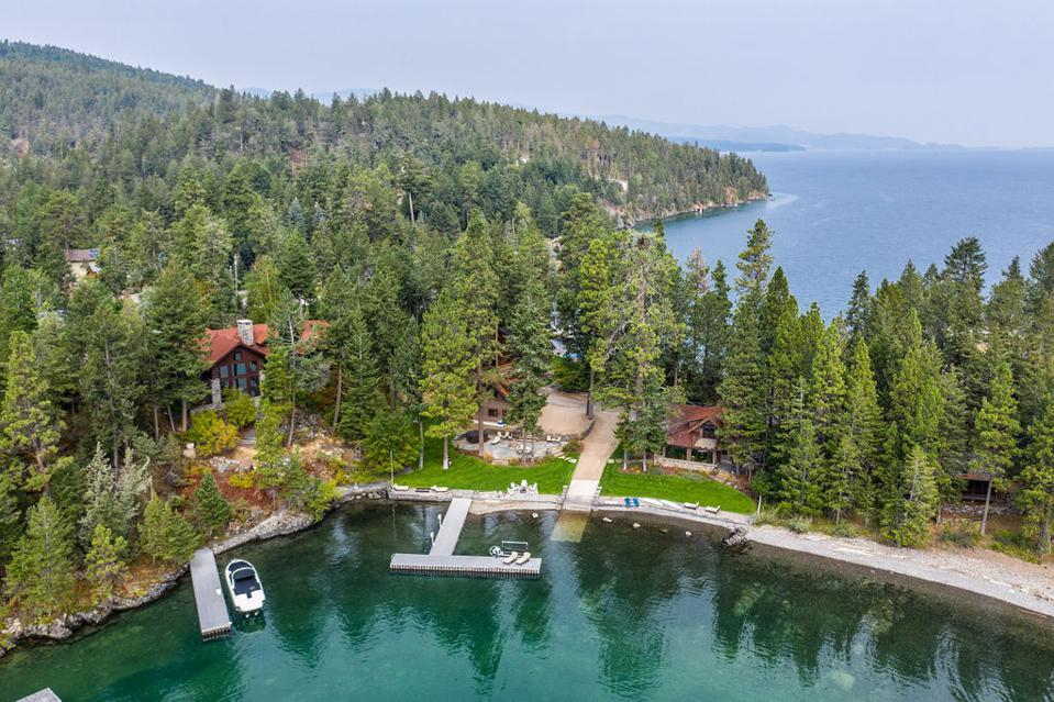 aerial view of montana home 1028 Angel Point Road 1034 Angel Point Lakeside, MT, USA