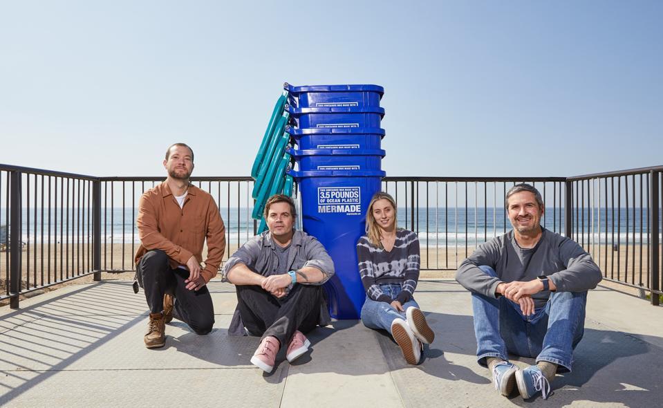From left to right: MerMade cofounders Matt Hartz, Jesse Blatz, Tessa Hayward and Matt Lanzdorf. Ocean plastic recycling bins
