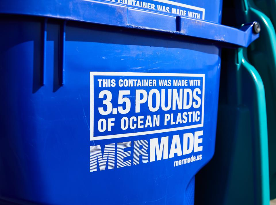 A close-up of the MerMade recycling bins, made with Oceanworks-sourced ocean plastic, launched for World Oceans Day.