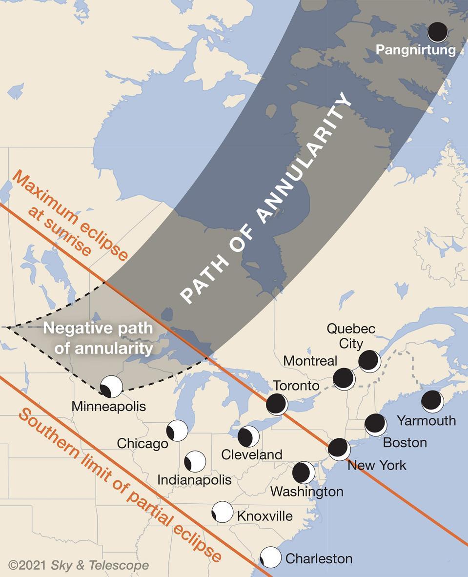 Los iconos muestran la profundidad del eclipse visible desde ciudades seleccionadas que presenciarán fases parciales del evento.  En algunos lugares, el sol se eclipsa a medida que sale, creando una oportunidad para algunas fotos emocionantes que tienen una escena en primer plano.  En el camino anular pasivo, los eclipses máximos ocurren antes del amanecer; si vive en estas áreas, puede notar efectos crepusculares inusuales.