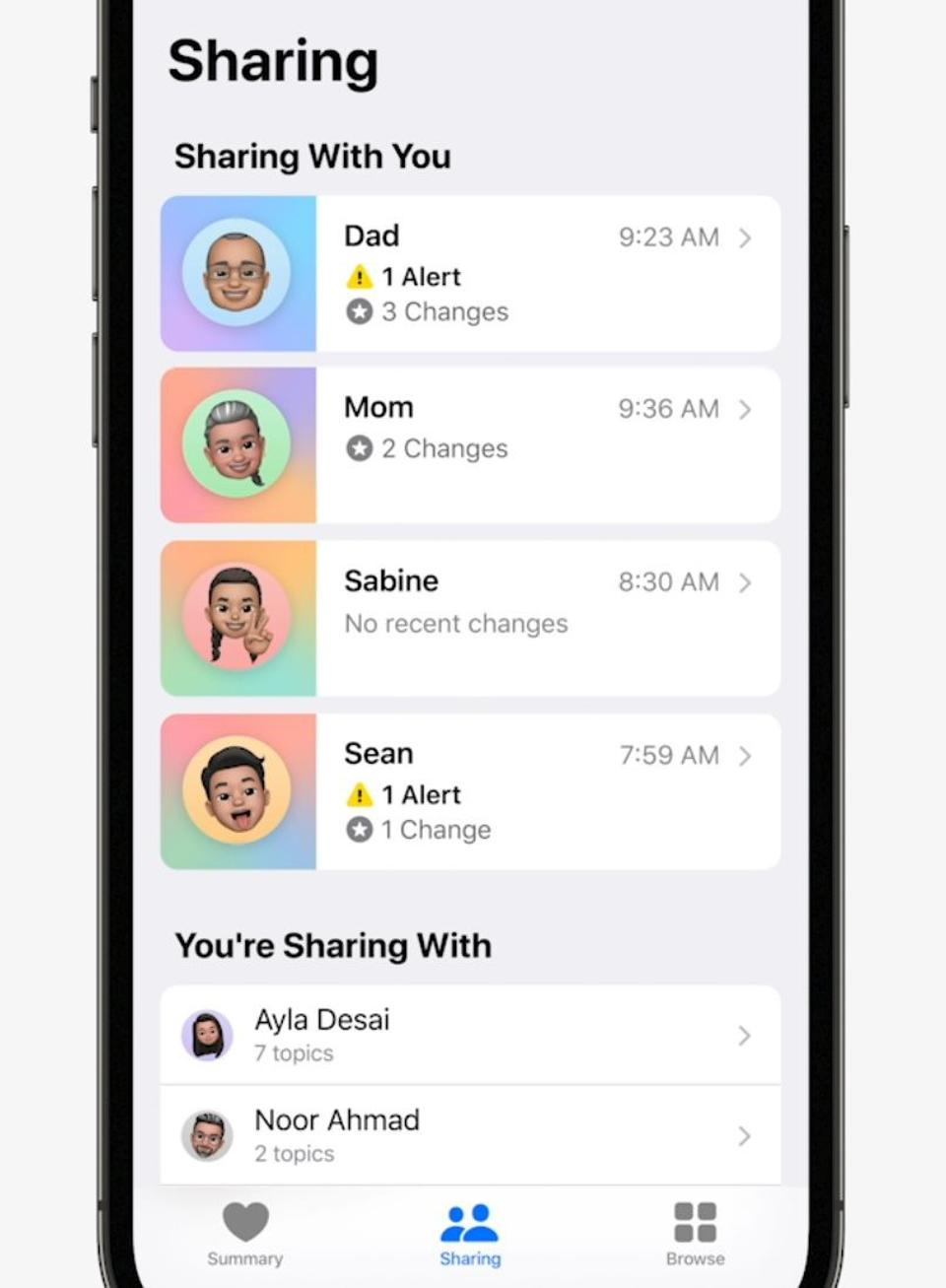 How Apple envisions sharing health data with family and friends.