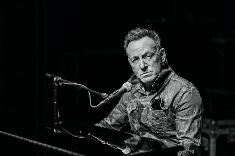 Bruce Springsteen performing his Broadway show.