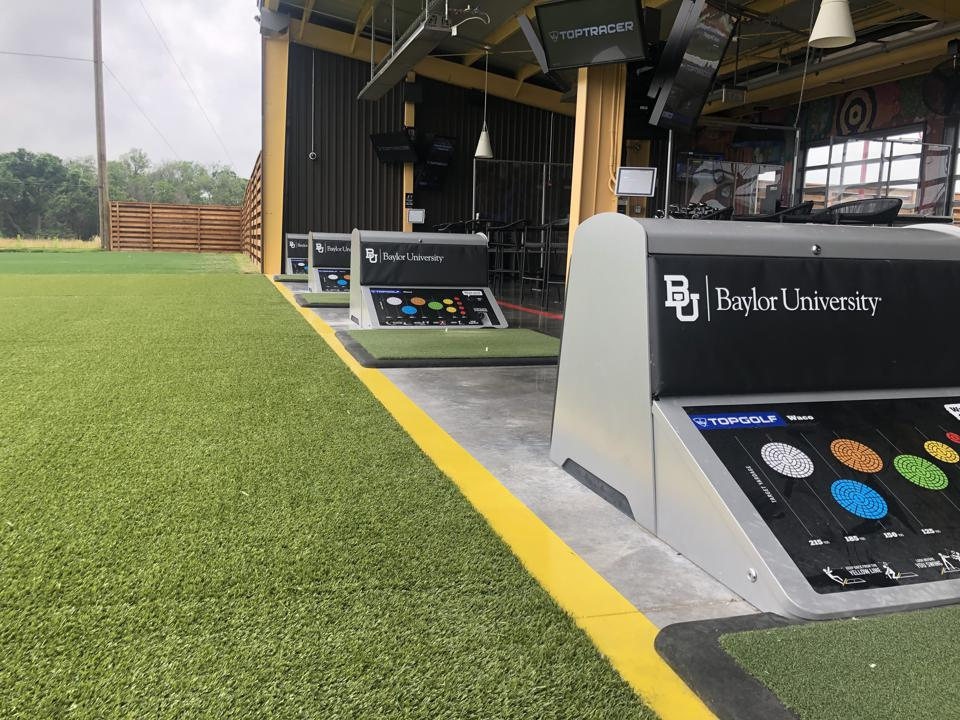 Permanent Baylor branding on four VIP bays at Topgolf Waco