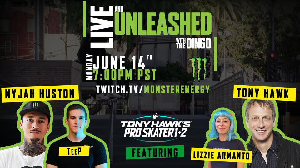 """Tony Hawk, Nyjah Huston, Lizzie Armanto and pro gamer Tyler """"TeeP"""" Polchow compete."""