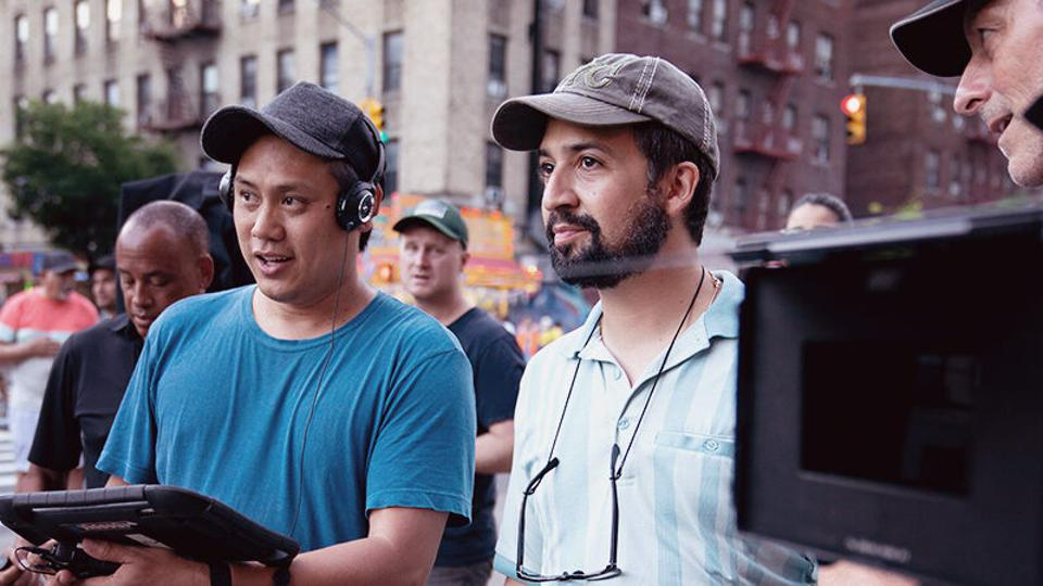 Jon M. Chu and Lin-Manuel Miranda on the set of the film 'In The Heights'