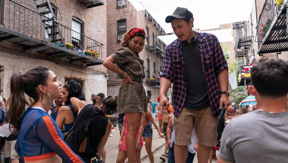 Jon M. Chu on-set with the cast of 'In The Heights' film