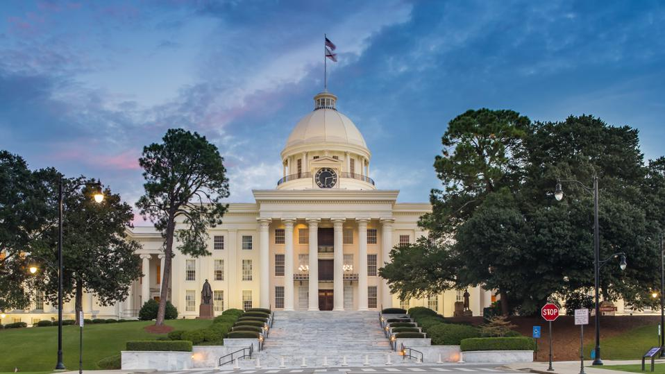 Alabama State Capitol in Montgomery at Night