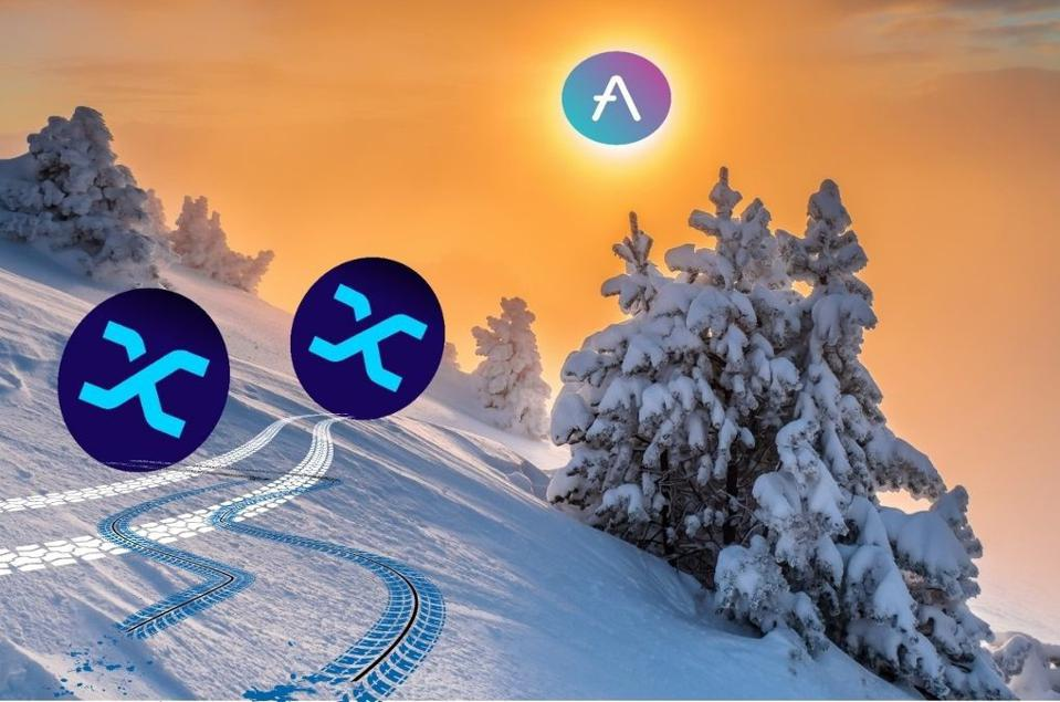A wintry scene depicts crypto-currencies sliding down a hill of snow.