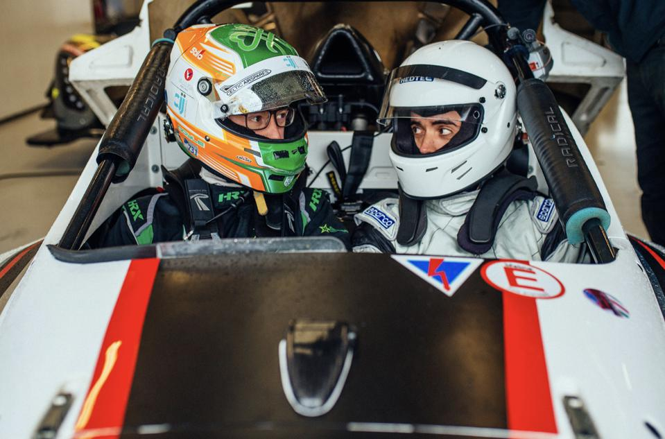 Racing driver Sean Doyle and the author sat in a Radical SR1