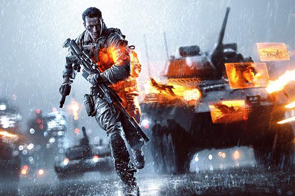 Battlefield soldier running through the rain with tanks behind him