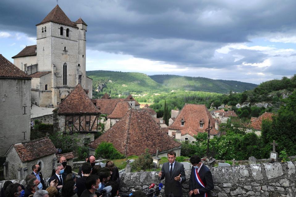 President Emmanuel Macron visits  Saint-Cirq-Lapopie, near Cahors, southwestern France