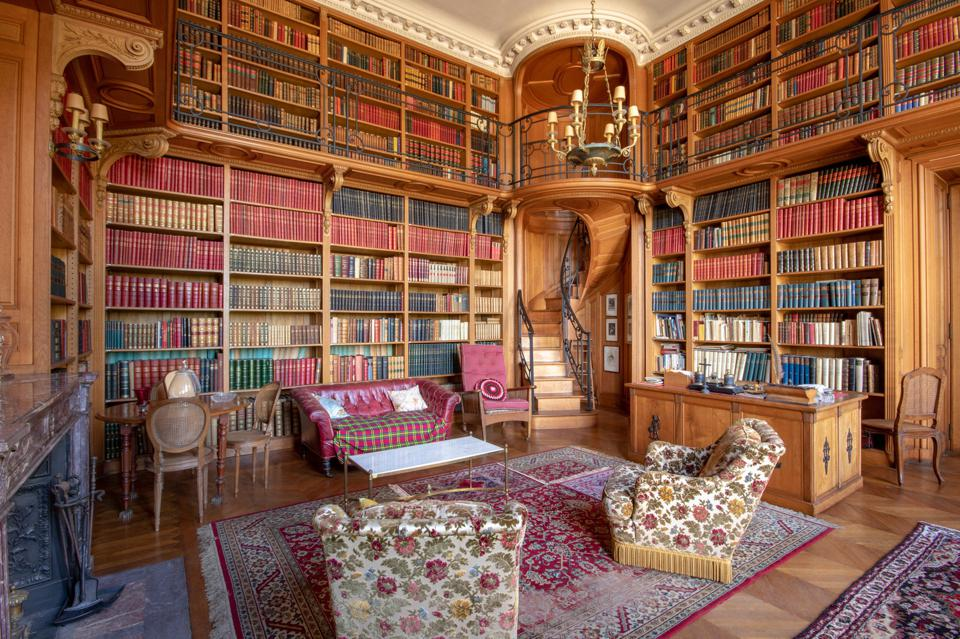 60,000 book library inside a 13,000-square-foot chateau in france