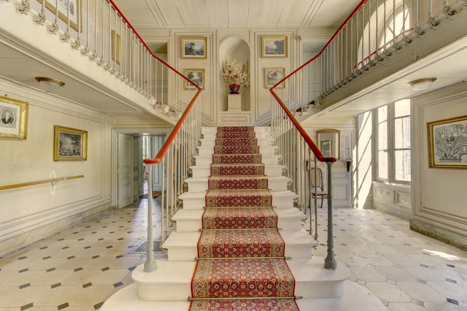 staircase inside a 17th Century castle with a large history
