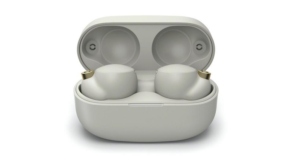 White Sony WF-1000XM4 earbuds