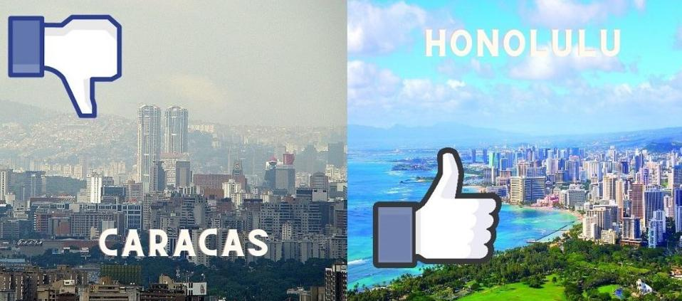 Side by side images of Caracas and Honolulu. Caracas has a thumbs down icon over it.