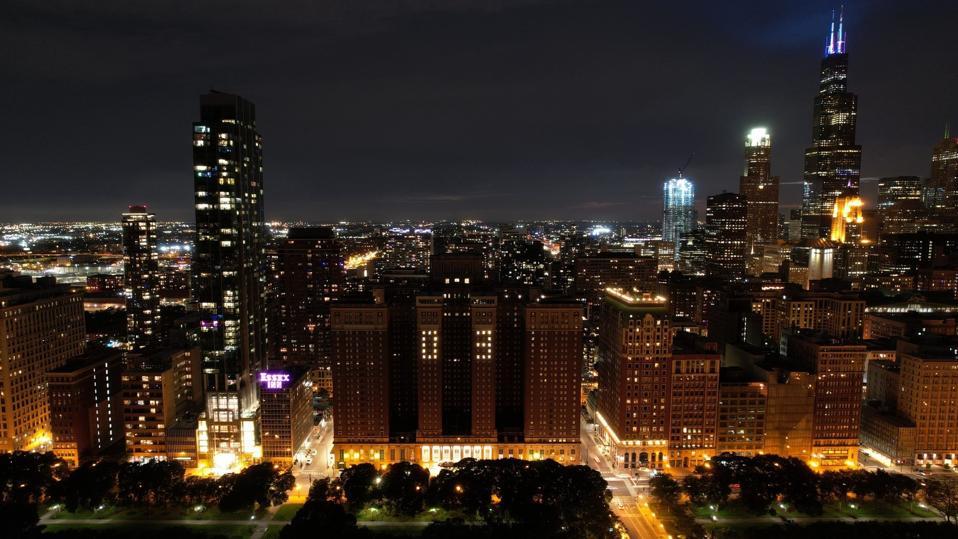 nighttime building