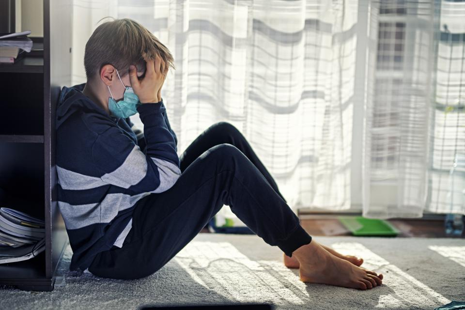 Depressed kid during epidemic quarantine