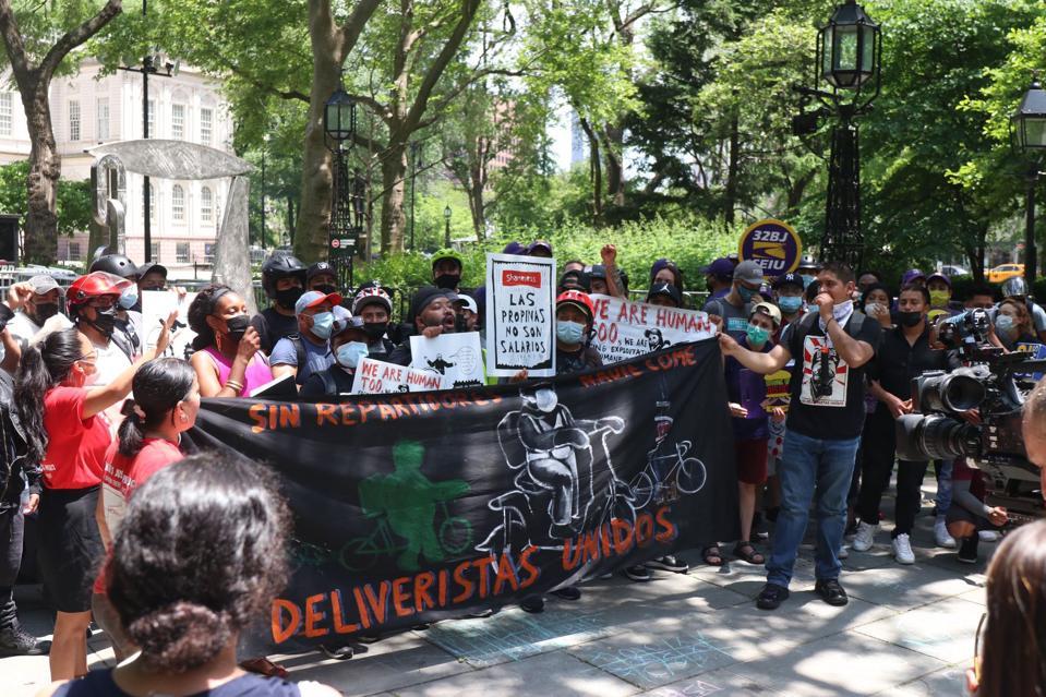 Los Deliveristas Unidos rally at City Hall on June 8th, 2021.