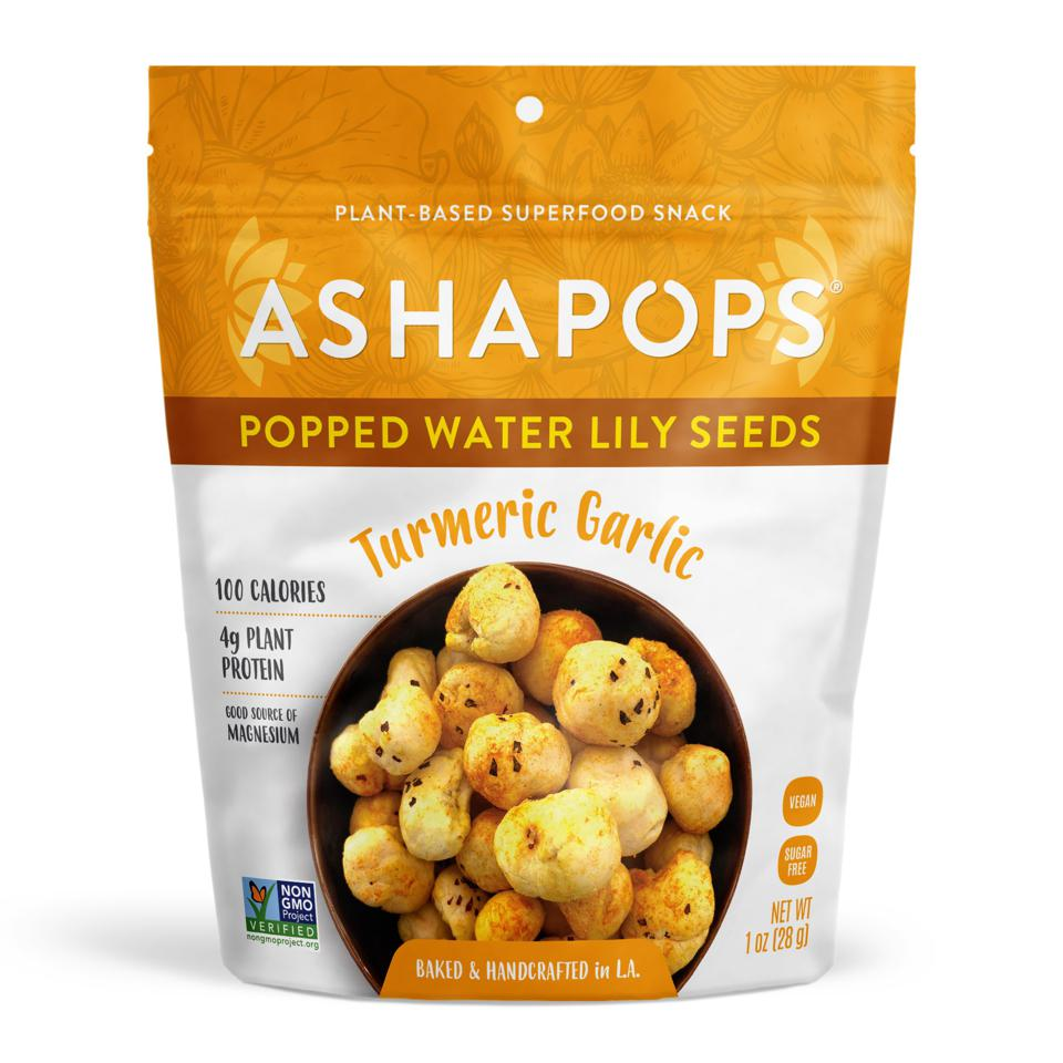 Ashapops Popped Water Lily Seeds in Turmeric Garlic.