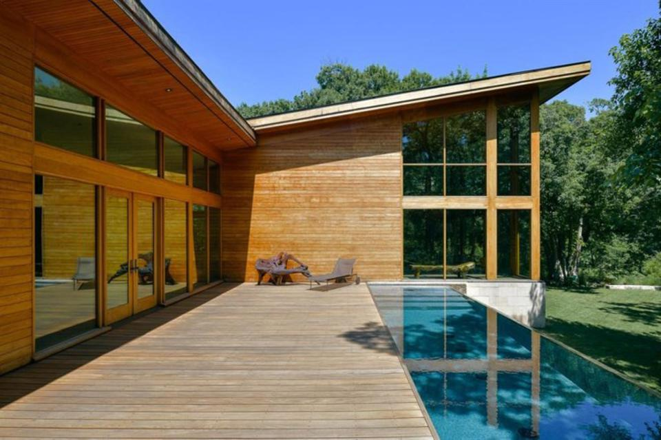 Teak on the exterior, soffits and patio deck