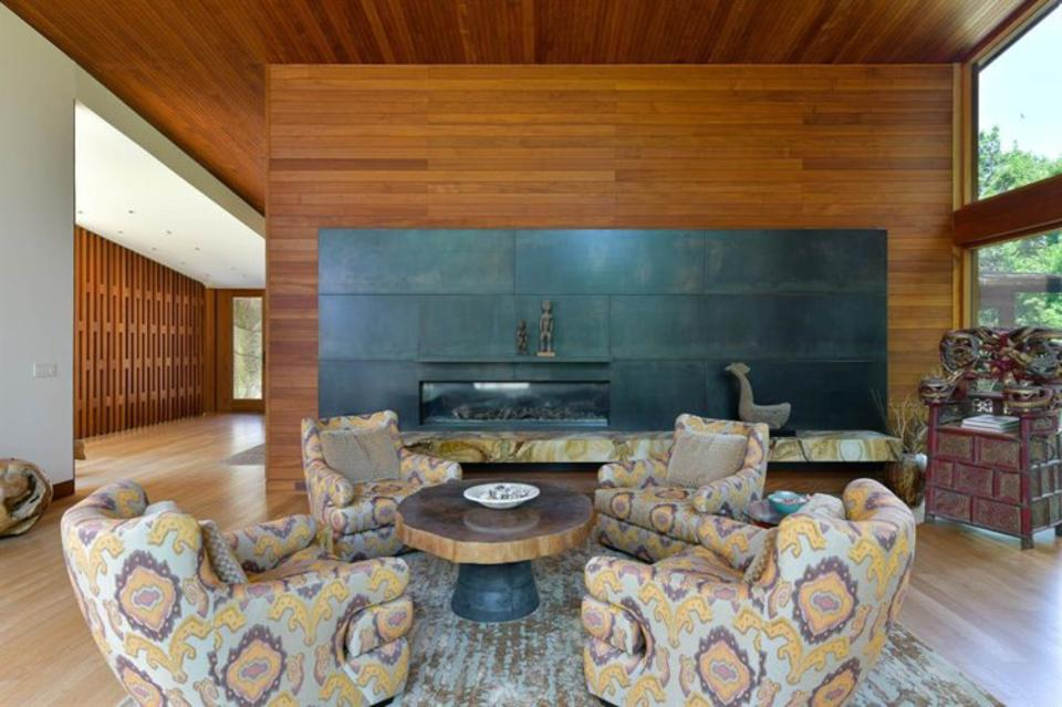 Even some pieces of furniture are made of teak, such as this table in the family room
