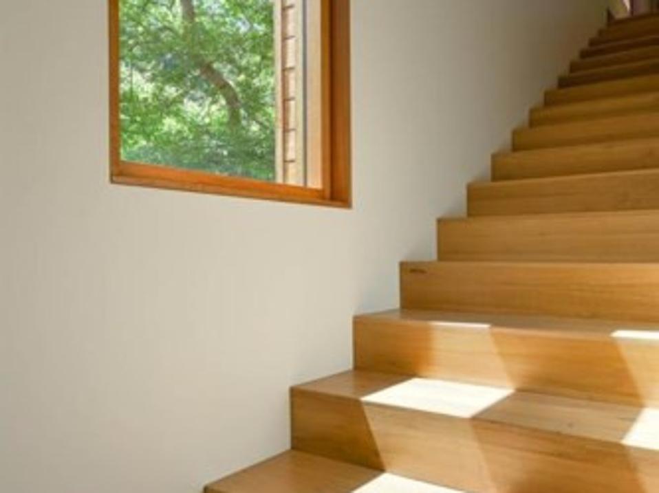 Teak wood stairs in the teak house