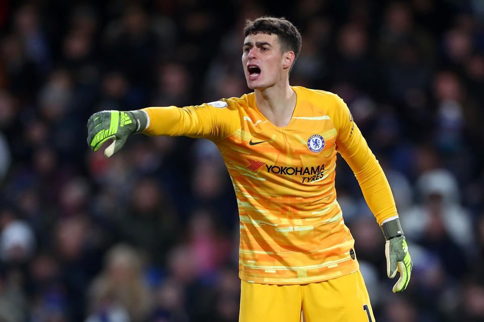 Kepa Arrizabalaga orders his teammates while playing in goal for Chelsea.