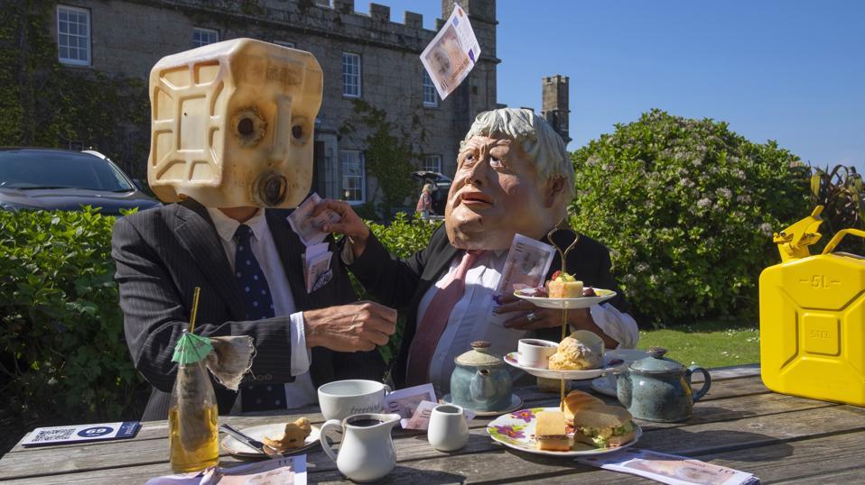 Ocean Rebellion's Boris Johnson And Oilhead Oligarch Cream Tea Protest