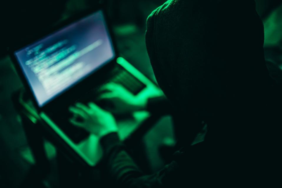 Hacker working at night