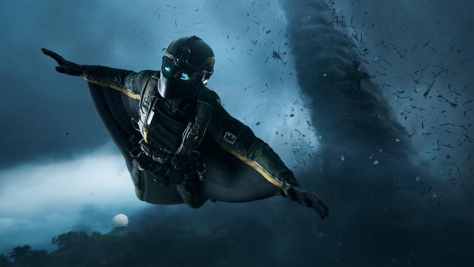 Battlefield 2042 squirrel suit soldier fleeing a tornado