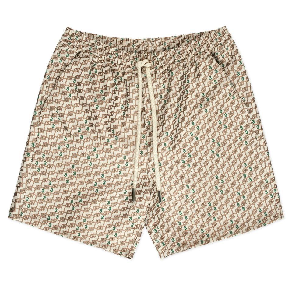 3.Paradis: Beige Monogram Shorts