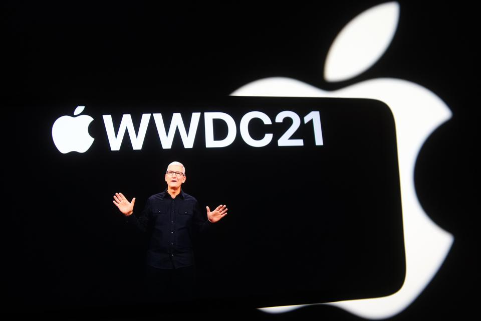 In this photo illustration the Apple CEO Tim Cook is seen on...