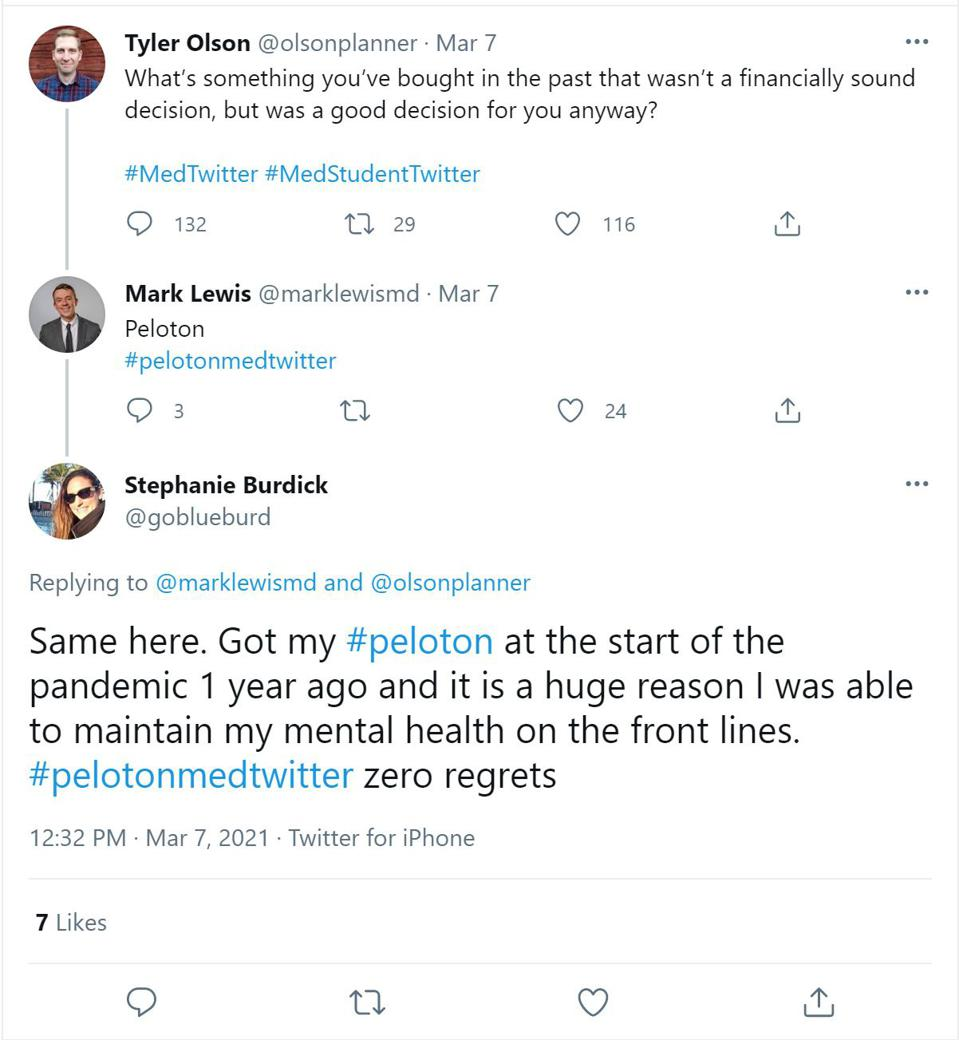 Twitter thread about the value of Peloton over the pandemic