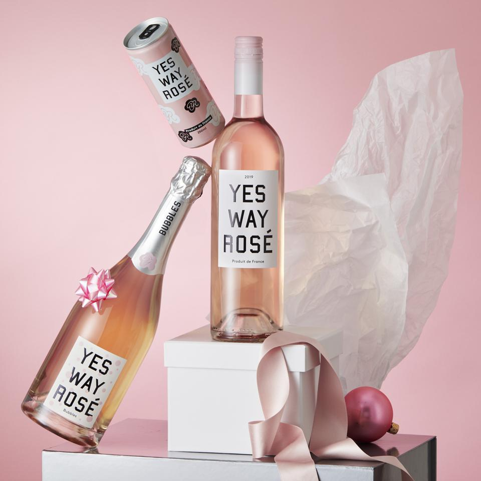 Photos of Yes Way Rosé wine bottles and cans
