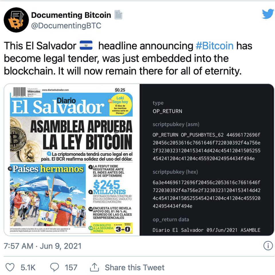 El Salvador approving bitcoin as legal tender gets encoded in the blockchain