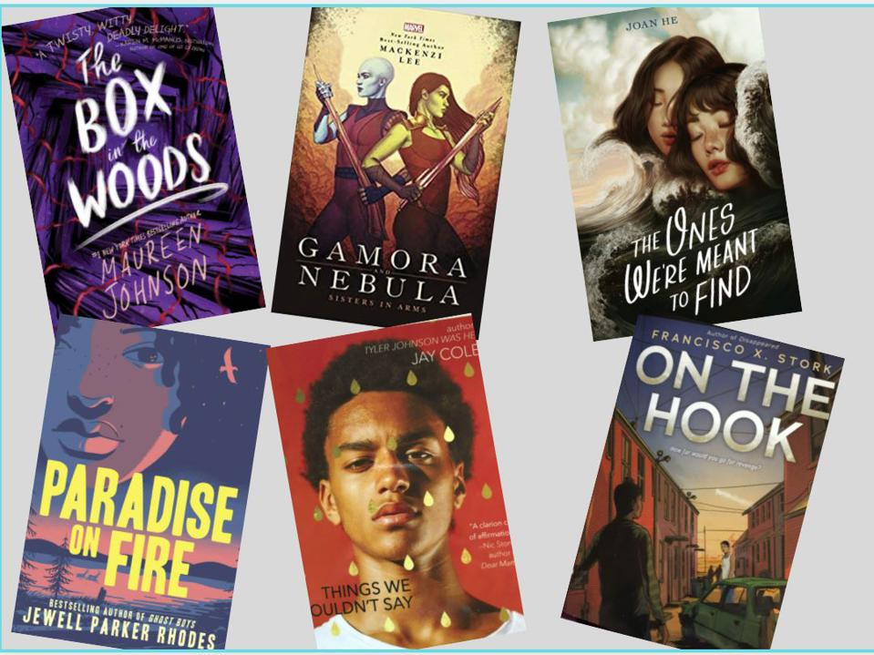 books box in the woods, gamora & nebula, on the hook, paradise on fire