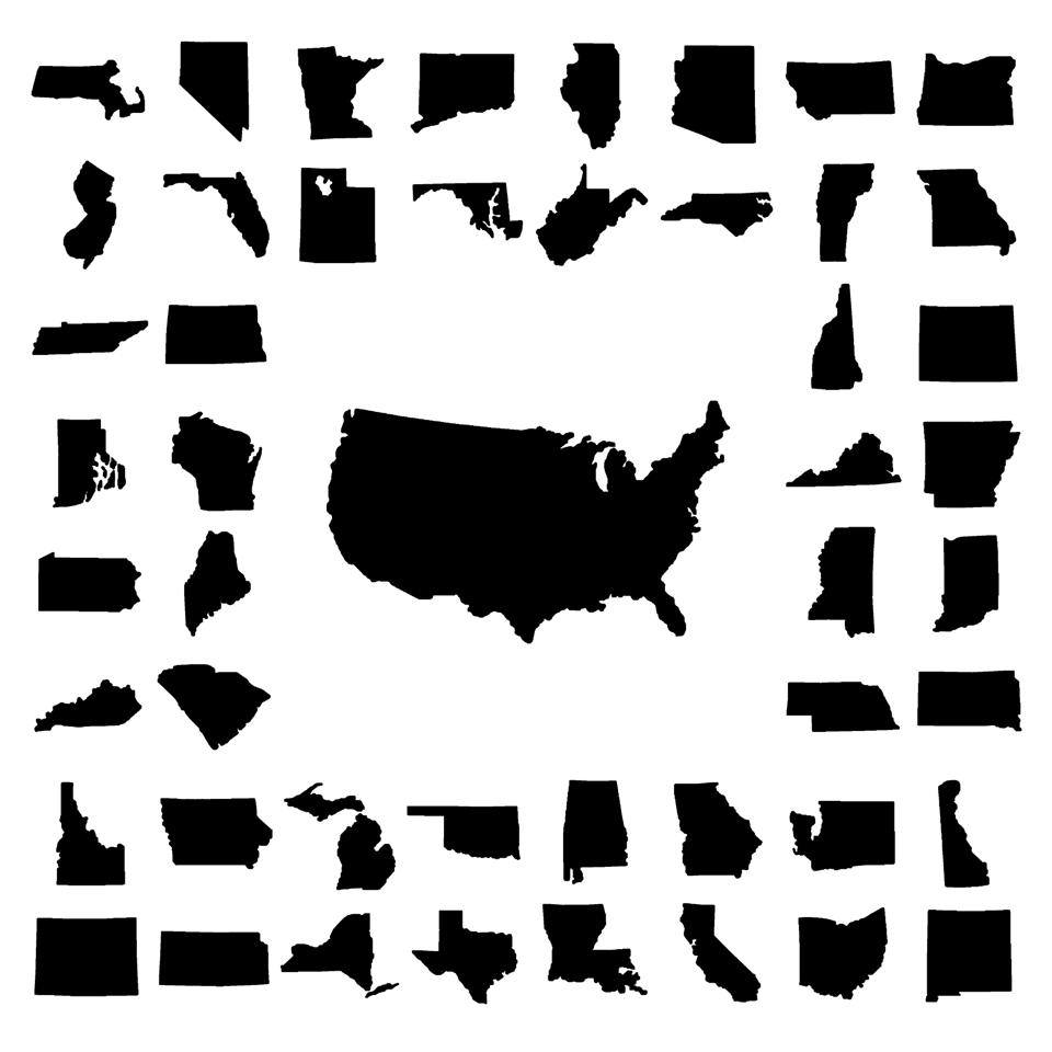 US Map Surrounded By States