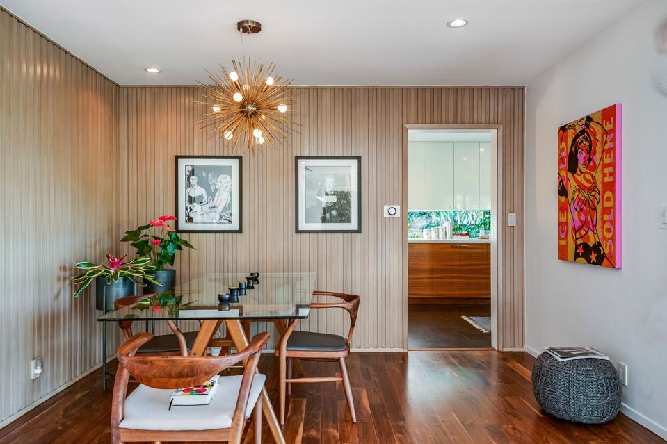 dining area inside harold b zook designed house at 10881 willowcrest in studio city